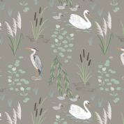 Lewis & Irene Down By The River - 5318 - Swans & Herons on Dark Grey - A220.3 - Cotton Fabric